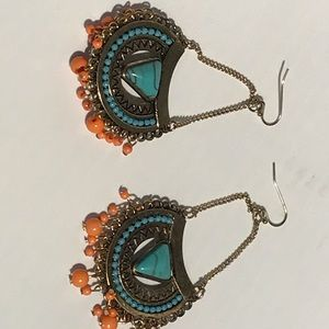 Blue turquoise and orange hand made earings